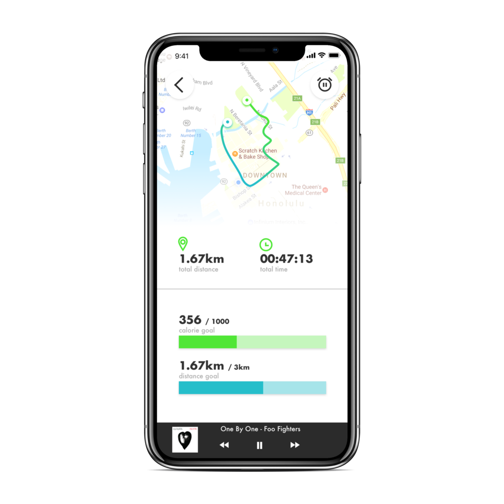 Running App - iPhone X Mockup
