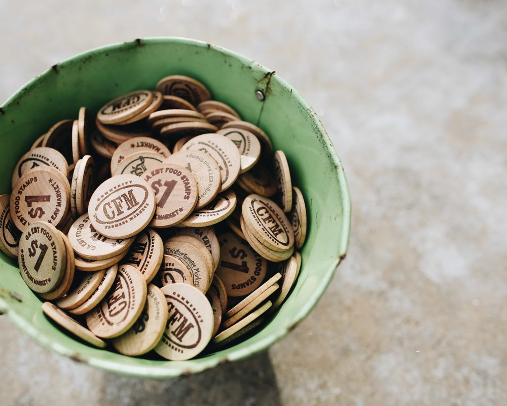 Physical tokens used by Community Farmers Markets