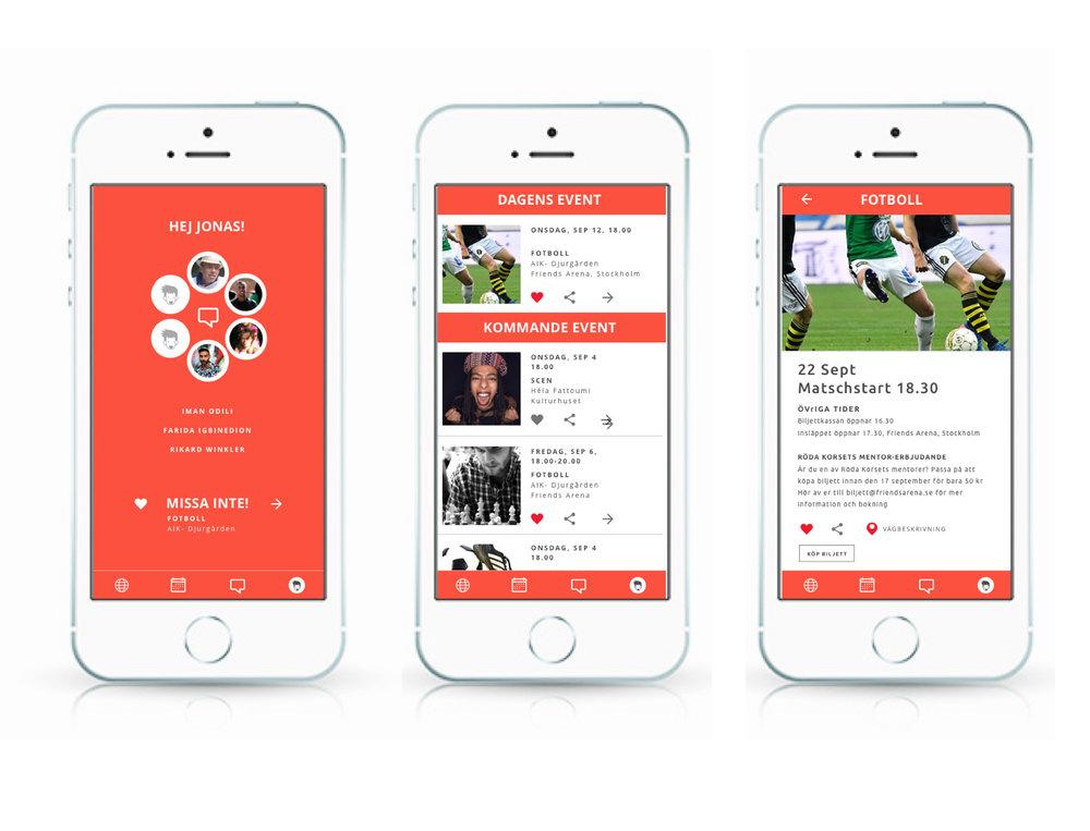 """Appen som skapar möten - Jag tänker att förstasidan i appen visar din grupp. Ni kan redan där snabbt och enkelt kommunicera. Om man väljer att gilla aktiviteten blir det ett hjärta. Klickar man på dela får """"min grupp"""" upp aktiviteten i ett meddelande."""