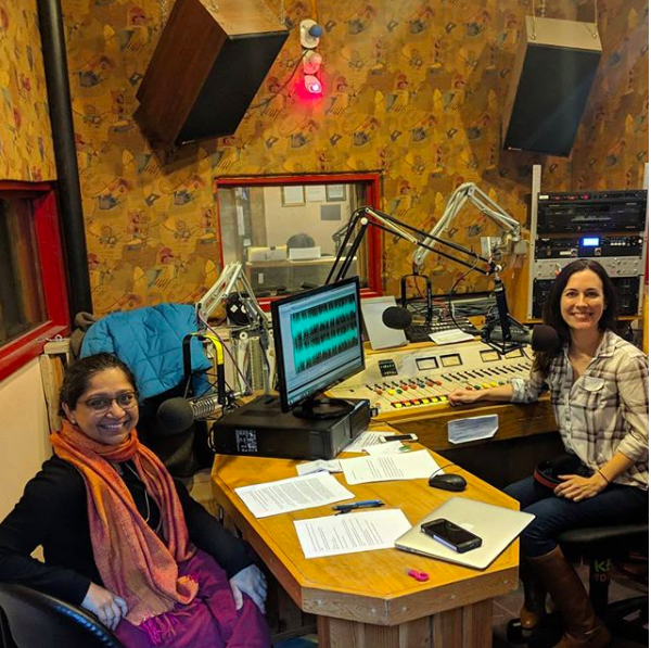 Subashini Ganesan and Sarah Tiedemann at KBOO studios