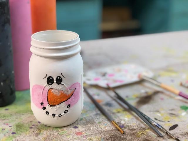 Diy Painted Snowman Mason Jar Megan Plus Five