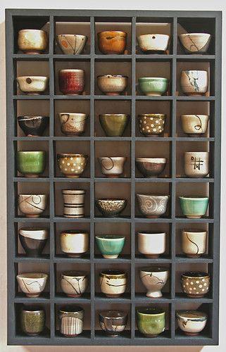 An array of matcha bowls, chasen.