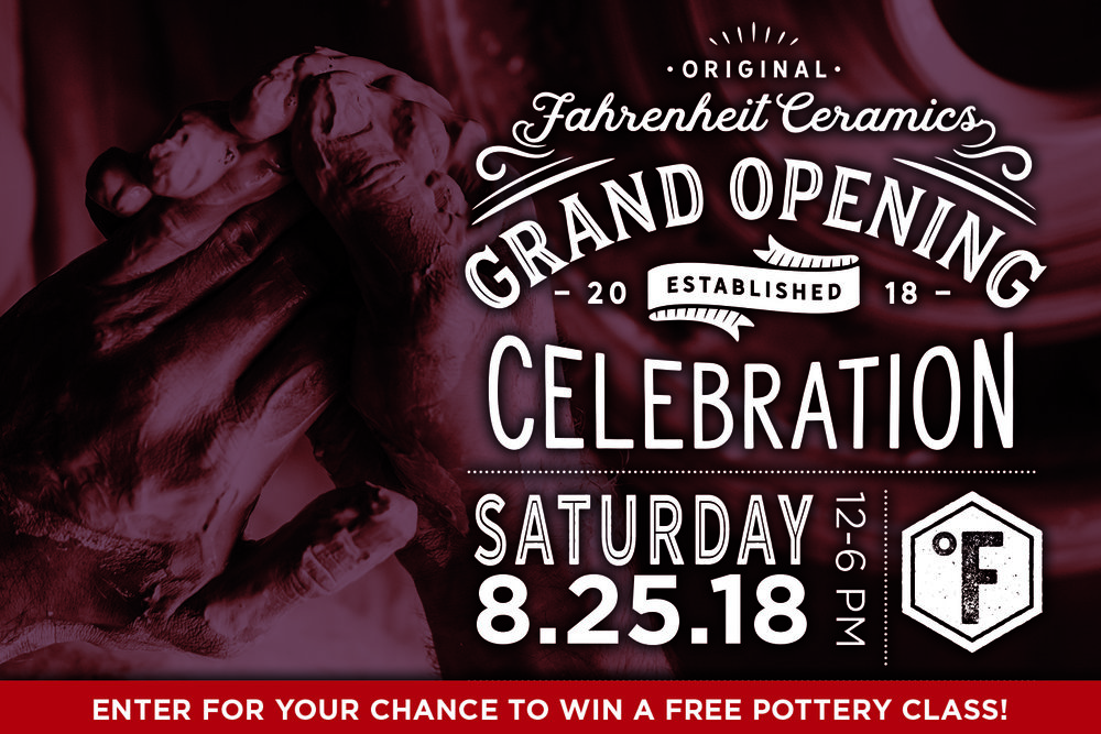 Our grand opening celebration!   Come join us on Saturday, August 25 at  4102 Figueroa Street at Avenue 41  for food music fun and games. Enter for a chance to win a free pottery class! Winner will be selected at the Grand Opening on August 25 at our studio.