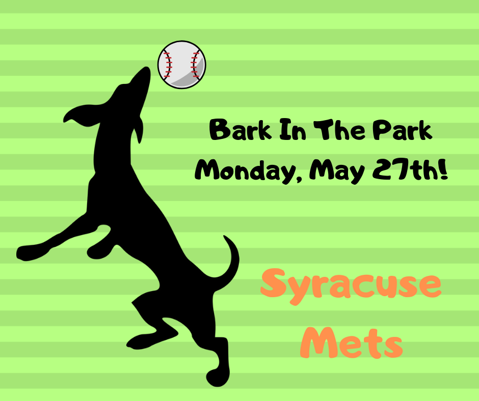 Bark In The Park - We are so pleased to be a part of the 2nd Bark In The Park event this year at the Syracuse Mets game!!!It is being held on Memorial Day (May 27th)!Check out their event page here for more details!