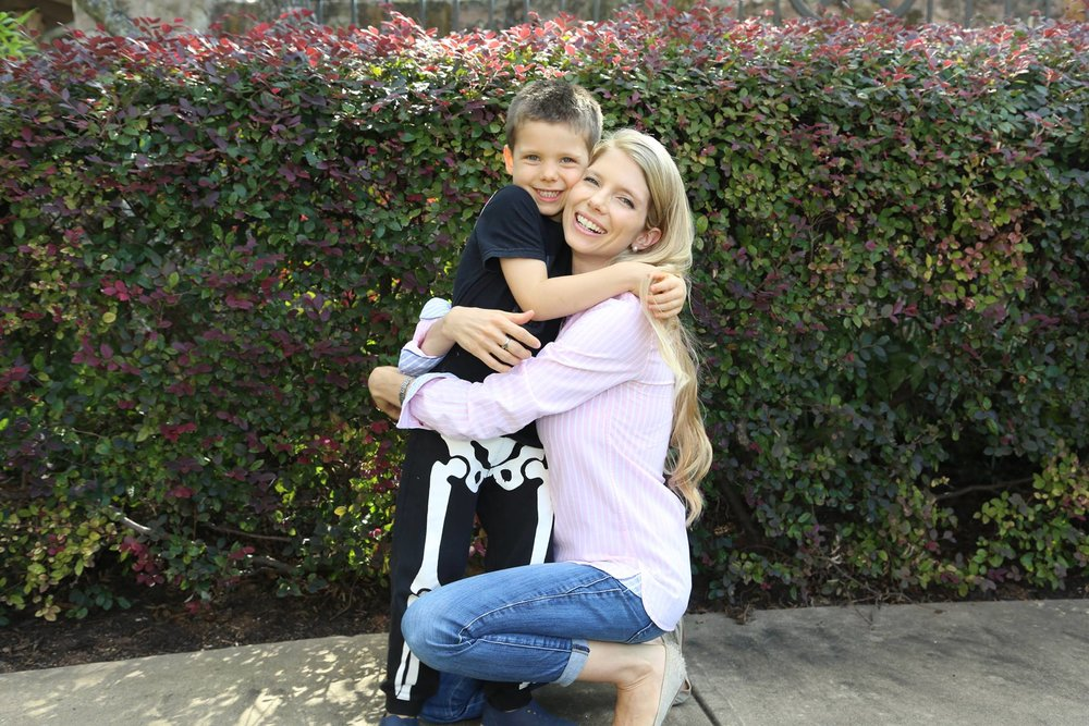Sarah with her son, Xander, 6.
