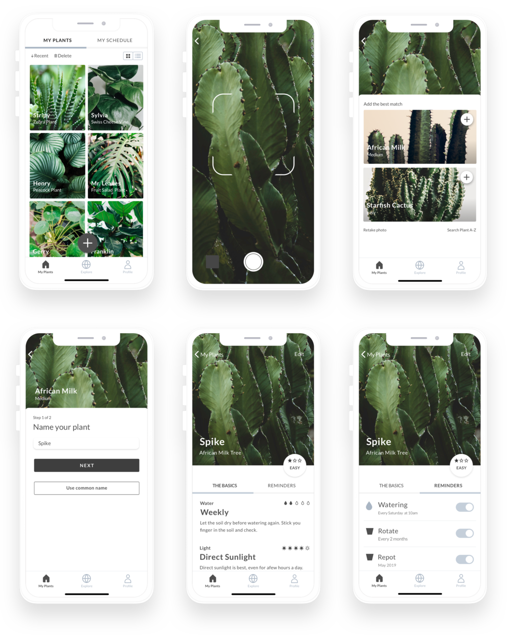 UI rolled out across the task flow of adding a plant to the users personal collection.