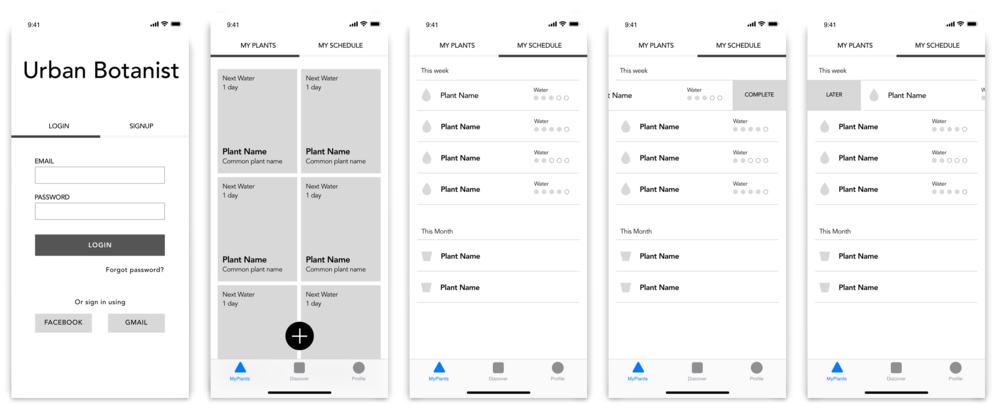 Translation of wireframes from pencil/paper to digital in the Sketch app. Referencing the iOS style guide, I was able to set up key navigation quickly and with confidence.