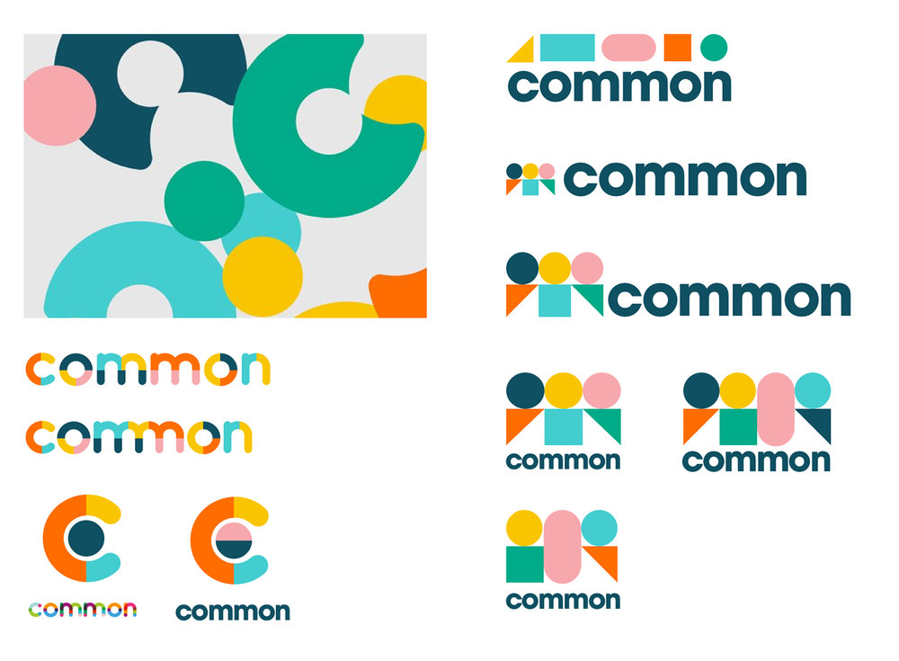 Variations on the common logo created in Sketch. The final design was chosen for this simplicity of shape and narrative of people coming together.