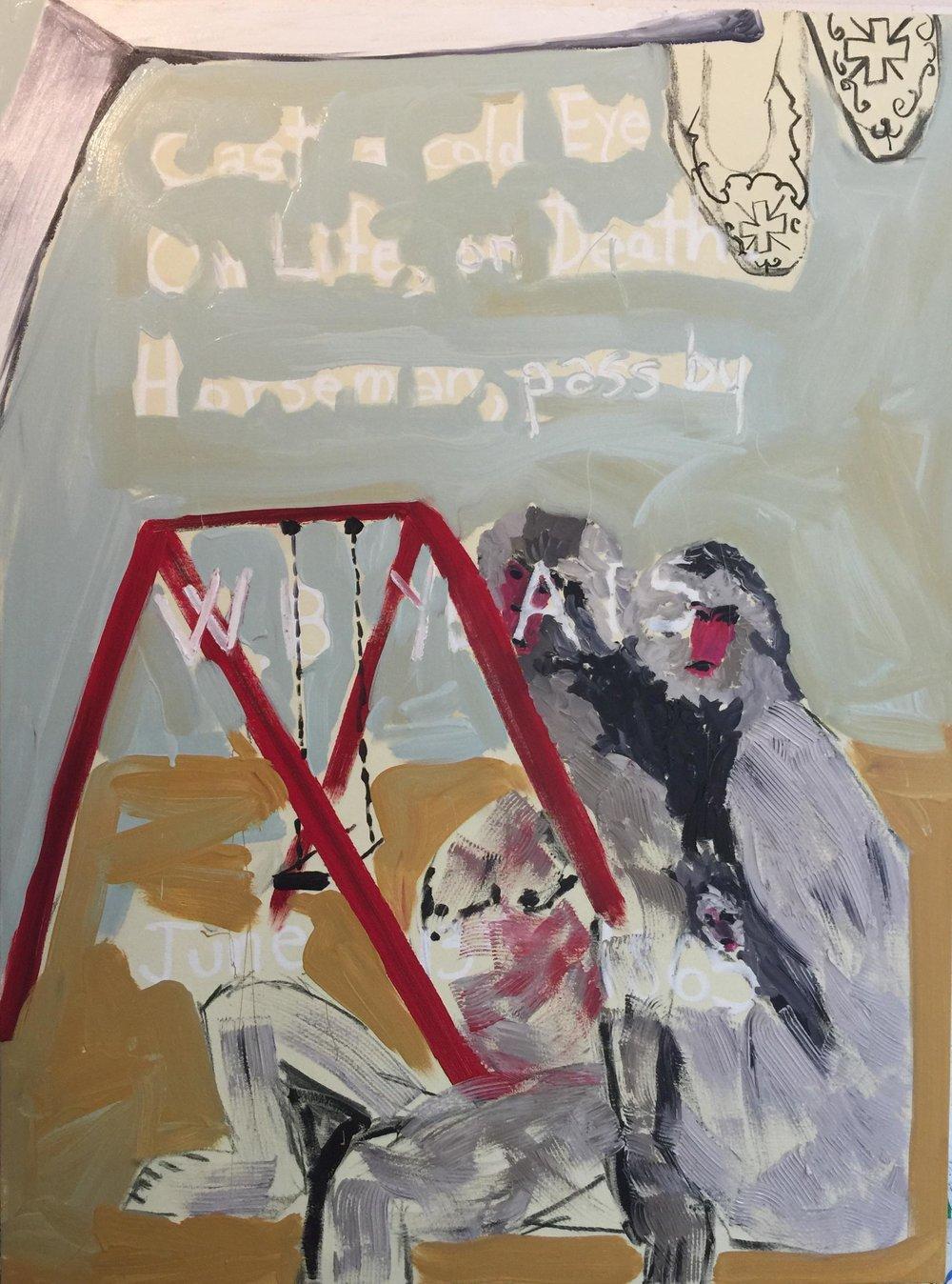 Je ne me rappelle plus óu j'ai puis cela, mais la solitude l'impresion de désolation m'a fait penser a la mort de Pasolini. Je l'ai prise comme une hommage juée d'un film- jamais tourné;Tombe de W. B. Yeats; Chaussons du Pape Benedict XV; Detail-peinture. Musée Van Gogh.   Acrylic, oil, oil stick, and charcoal on canvas, 2018  48h x 36w in