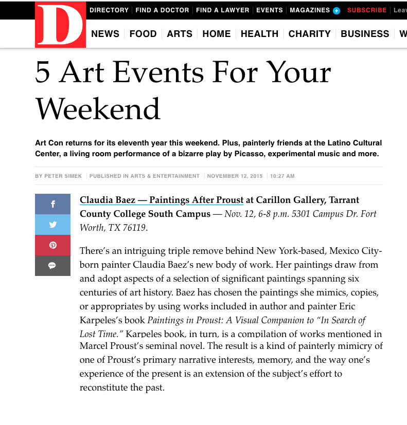 D MAGAZINE: 5 ART EVENTS FOR YOUR WEEKEND   by Peter Simek, 2015