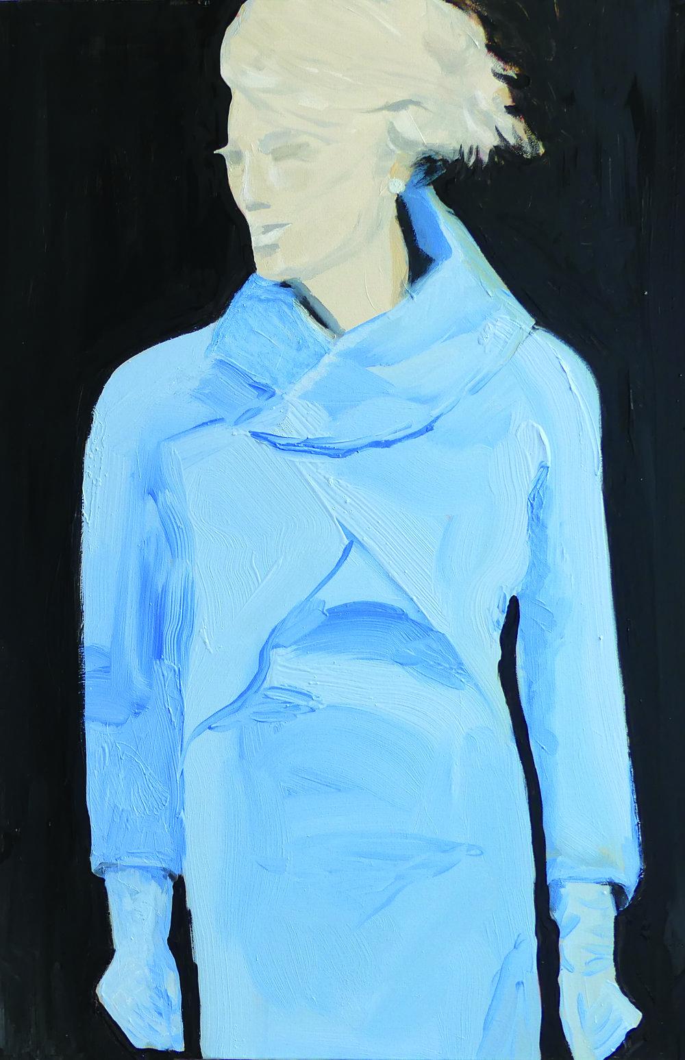 Jaquie Kennedy-esque pale blue cashmere ensemble.  Worn: Inauguration Day January 20, 2017 Washington D.C> Ralph Lauren