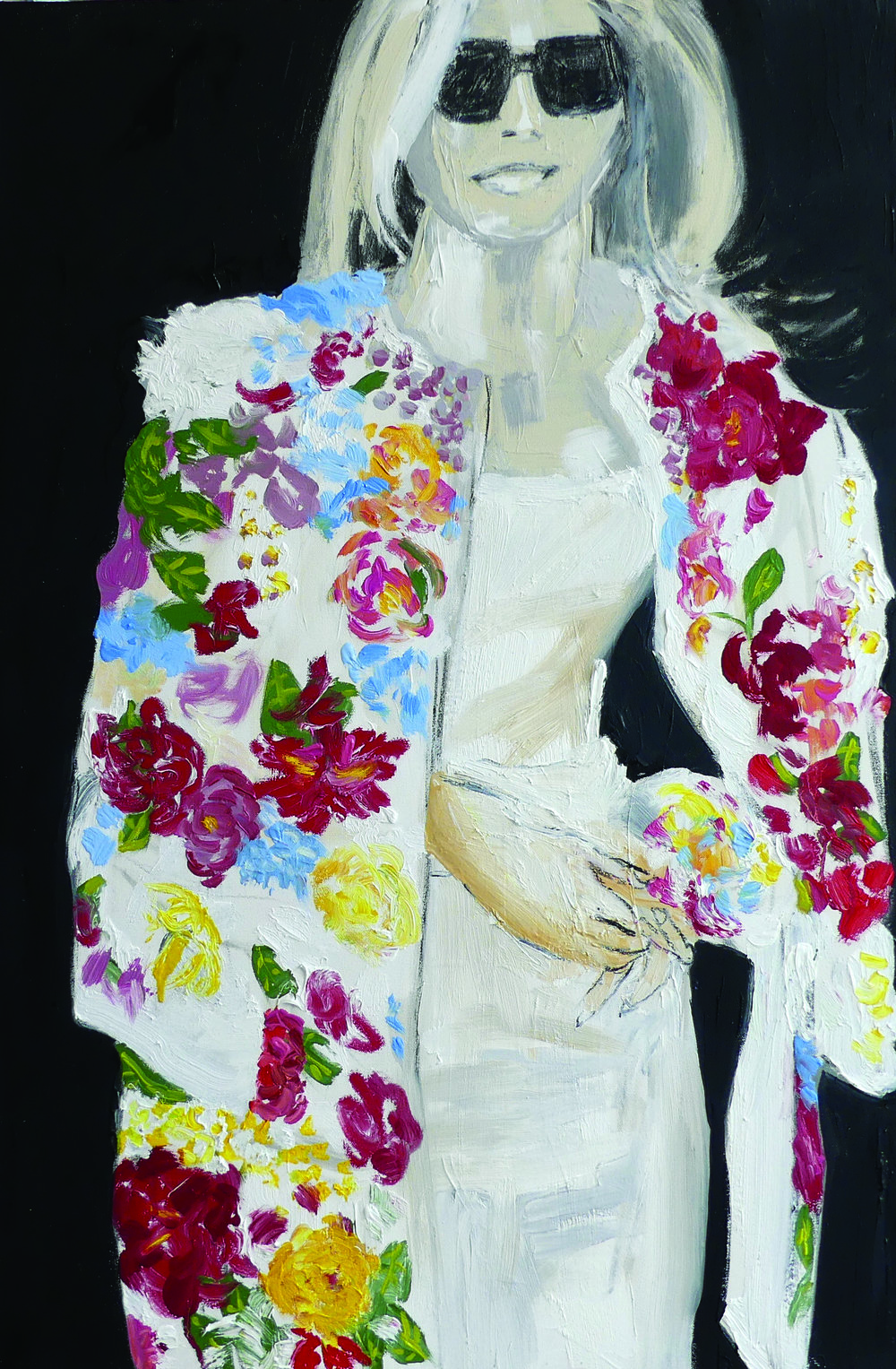 Floral coat with multicolored silk flowers that retails for $51,500.  Worn: Chierici Palace, G7 first ladies visit to Catania, Italy  Stefano Gabbana  Domenico Dolce