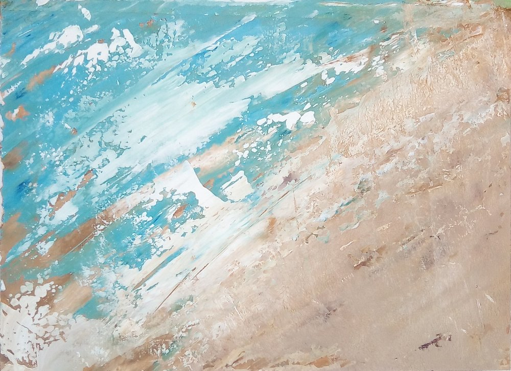 """""""Beach"""" in cold wax and oil by Angie Noll"""