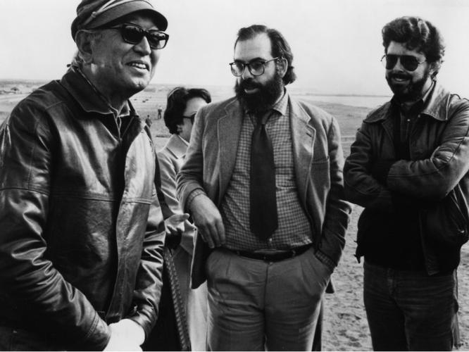 Akira Kurosawa, Francis Ford Coppola, and George Lucas during the production of KAGEMUSHA, 1980.