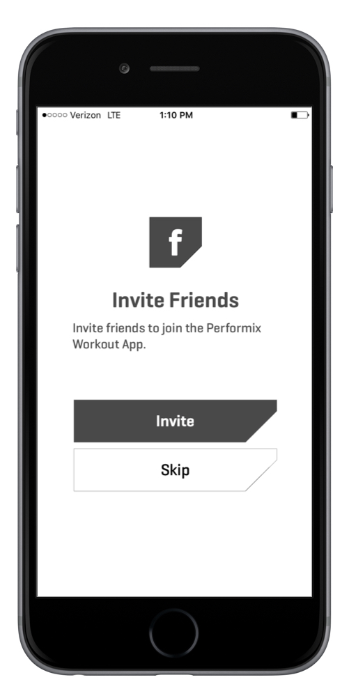 The Invite friends page gives lets the user add friends to their network. Adding friends positively impacting their fitness success. -