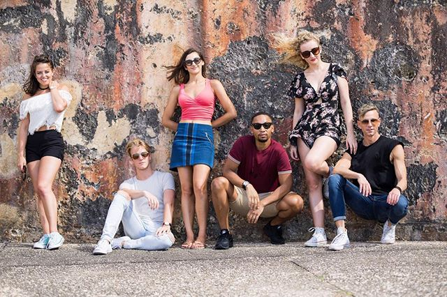 On Saturdays, we casually brood and pose in front of textured walls... ⠀⠀⠀⠀⠀⠀⠀⠀⠀ #photography credit @cruisegoose ___ . . . . ___  #Fascinators #photoshoot #SanJuan #castfamily #castphoto #lovemyjob #happy #blessed #texture #travel #explore #wanderlust #adventure #bubblesthetourist #CarnivalCruiselines #CarnivalFascination #CarnivalEntertainment #letstravelmore #whynot #photography #travelblogger #travellife #lifestyle #bluesteel
