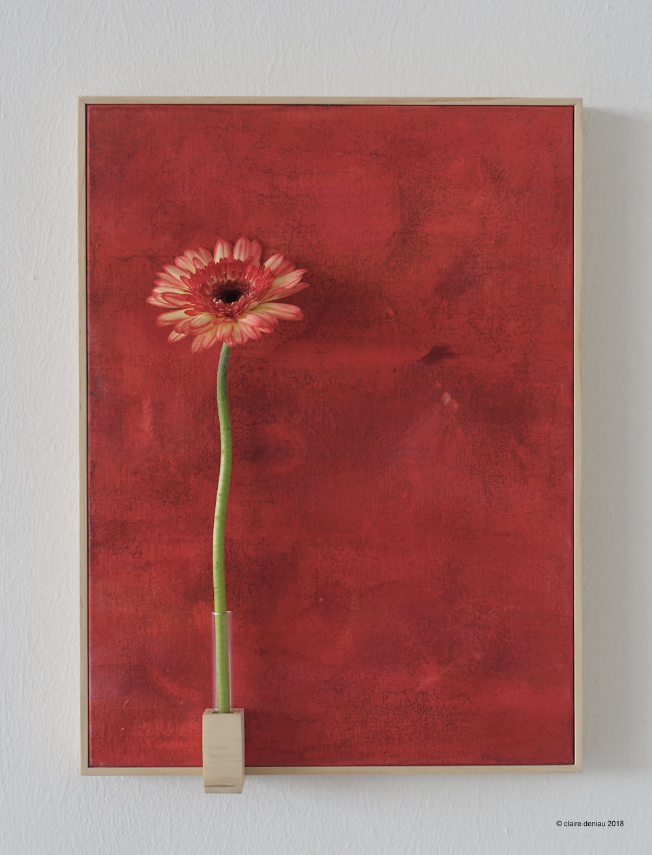 YOU + ME - 4 (with fresh flower 1), Acrylic on linen, wood, glass, fresh flower 40.5 x 30 cm 2018.jpg