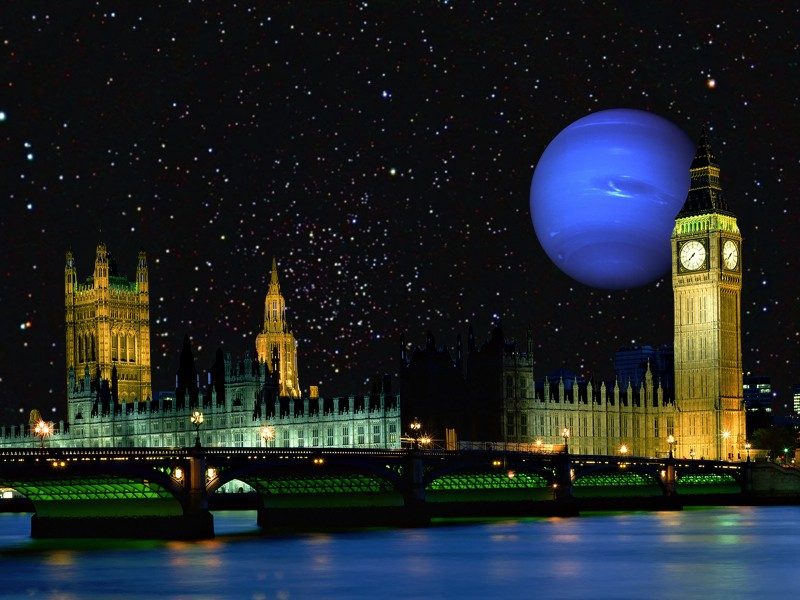 Kepler-36 c would look as big in the sky from Kepler-36 b as Neptune appears over London in this picture.