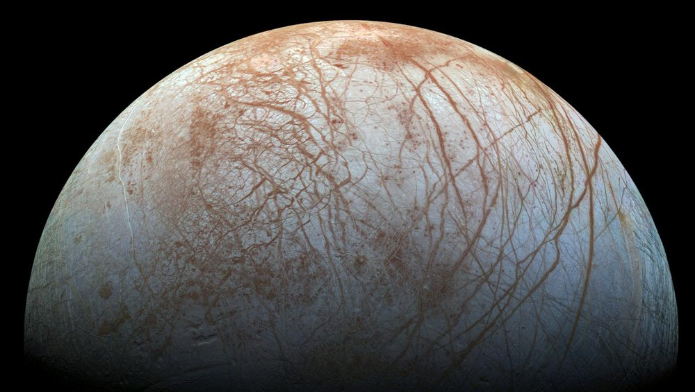 Jupiter's moon Europa as imaged by the Galileo spacecraft.