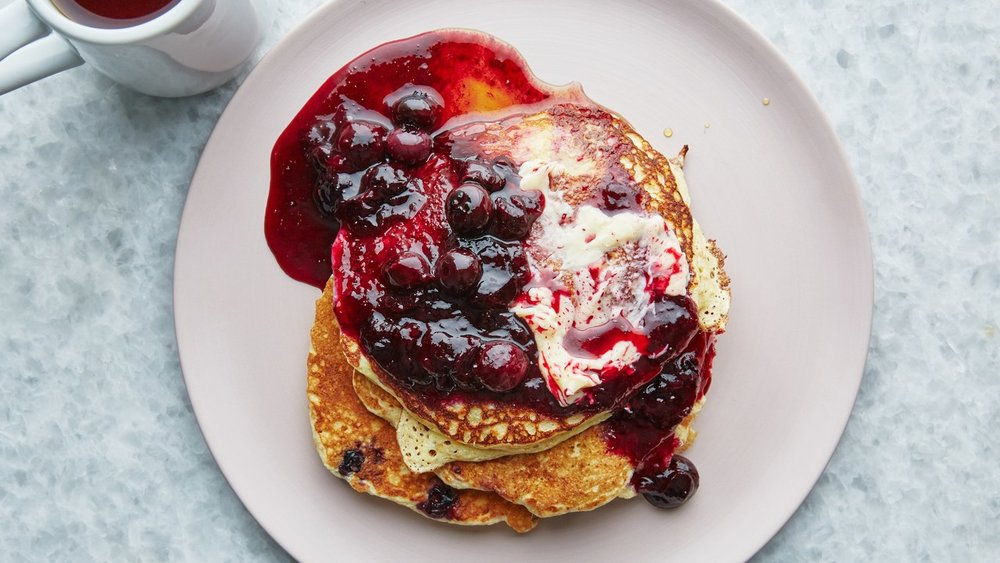 Ricotta Pancakes with Blueberry-Lemon Compote
