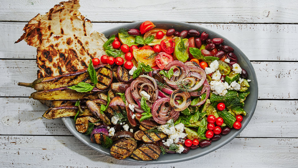 Grilled Fattoush With Za'atar Eggplant
