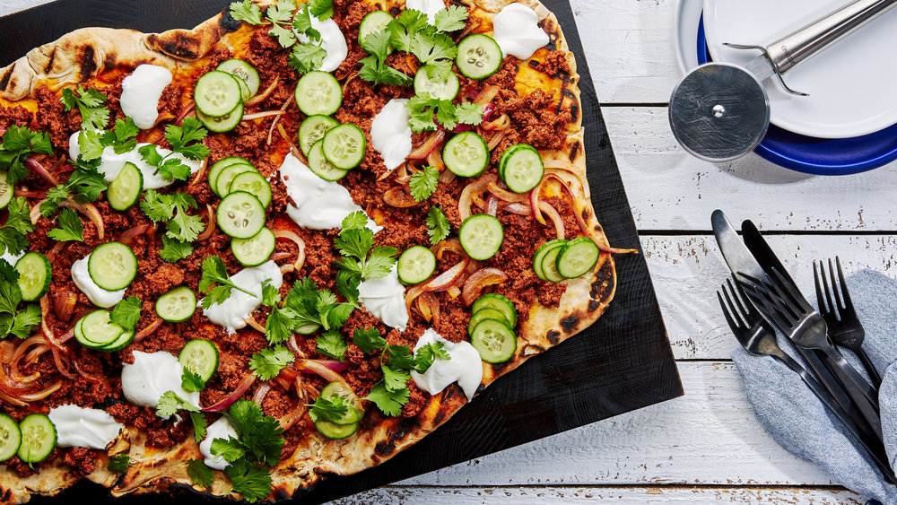 Spicy Beef Flatbread With Yogurt & Cucumbers