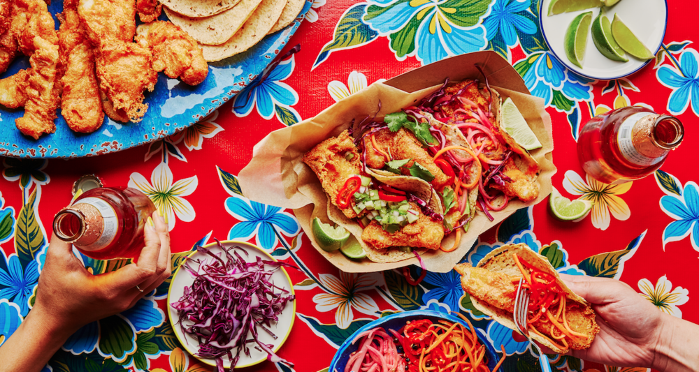 Crispy Corn and Beer-Battered Fish Tacos