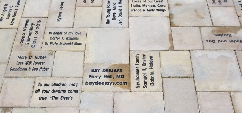Bay Deejays helped sponsor the construction of Angel Park in Perry Hall with the purchase of a paver in the entertainment pavilion - check out this awesome park for children of all abilities when you're nearby.