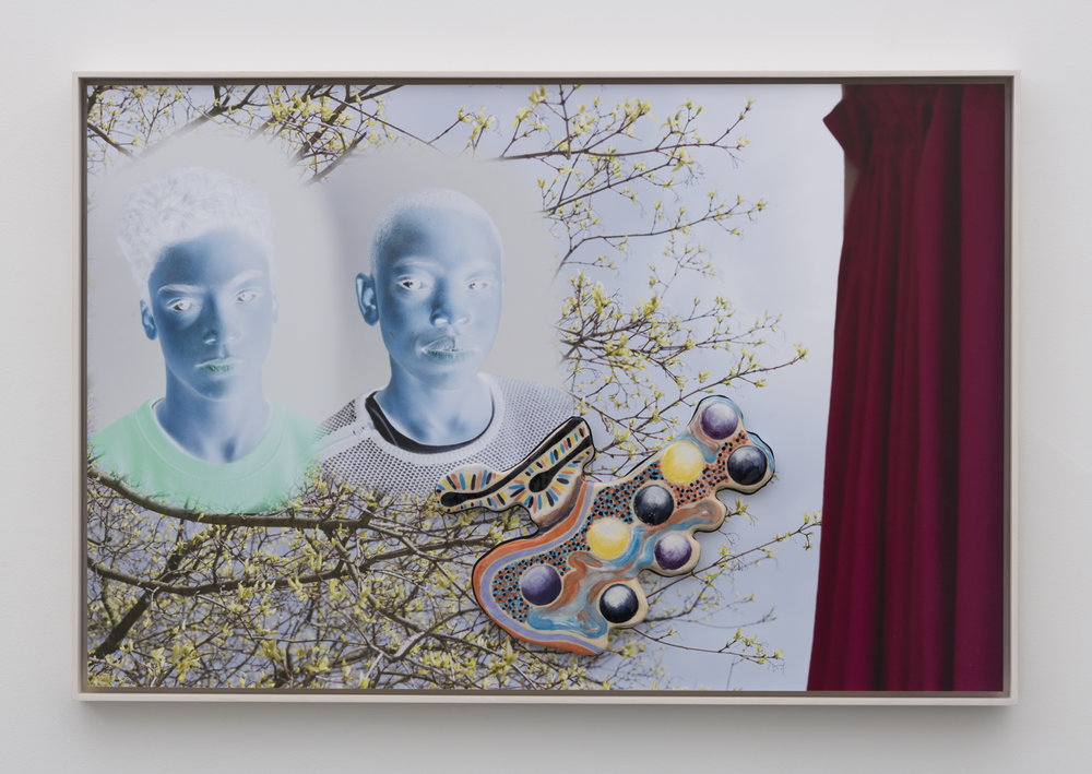 Denis Darzacq & Anna Lüneman,  Doublemix In Situ No. 4 , 2017  Digital pigment print with earthenware insert, 22.8 x 34.6 x 1.5 in (approx. 58 × 89 x 4 cm), unique   Inquire