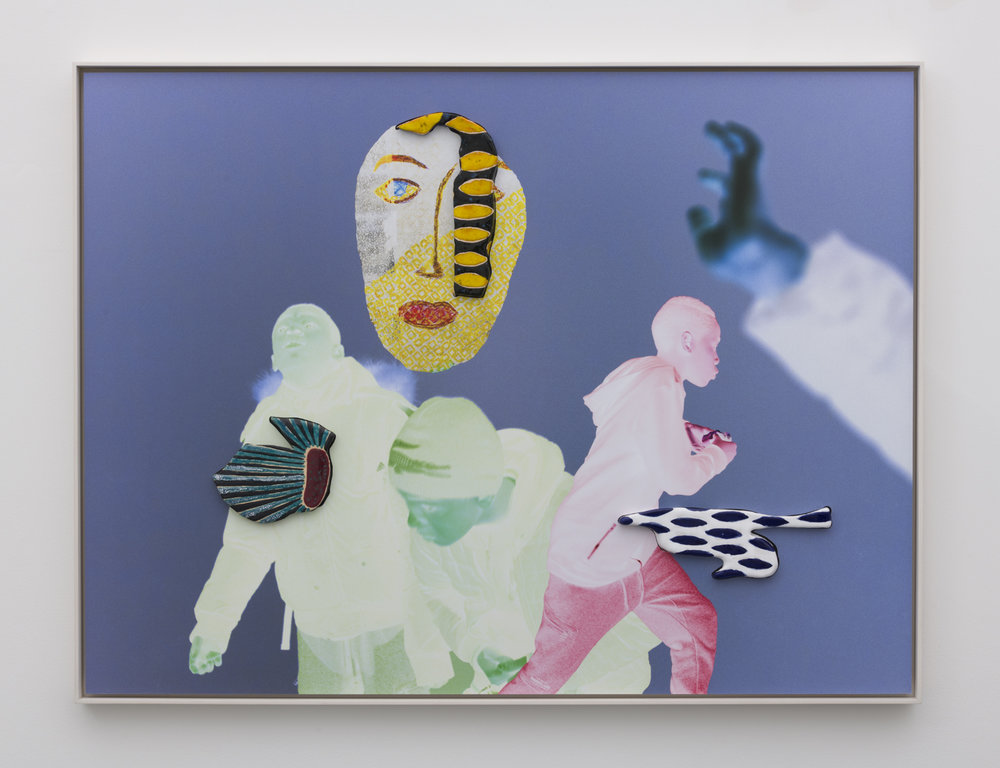 Denis Darzacq & Anna Lüneman,  Doublemix In Situ No. 6 , 2017  Digital pigment print with earthenware insert, 34.4 x 46.4 x 1.5 in (approx. 89 × 118 x 4 cm), unique   Inquire