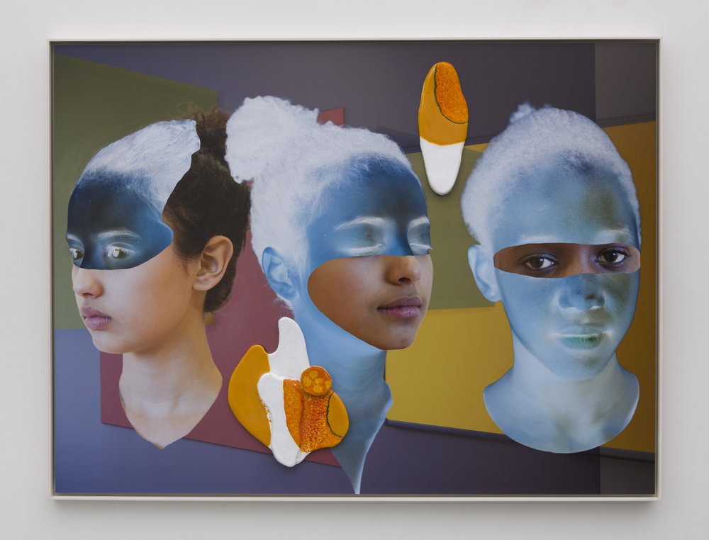 Denis Darzacq & Anna Lüneman,  Doublemix In Situ No. 9 , 2017  Digital pigment print with earthenware insert, 41.1 x 54.8 x 1.5 in (approx. 104 × 139 x 4 cm), unique   Inquire