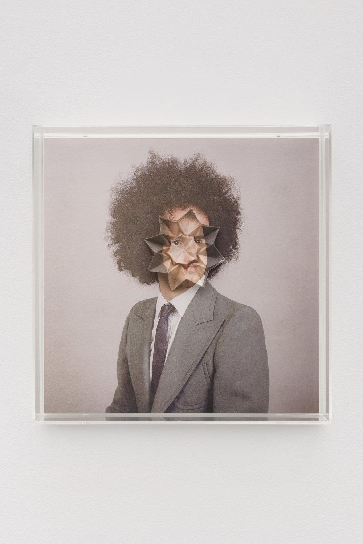 Alma Haser,  Patient No. 22 HD (Sietse) , 2016  Digital pigment print with folded digital pigment print sculpture, plexiglass box, 30 x 30 x 10 cm (approx. 12 x 12 x 4 in), edition of 5   Inquire