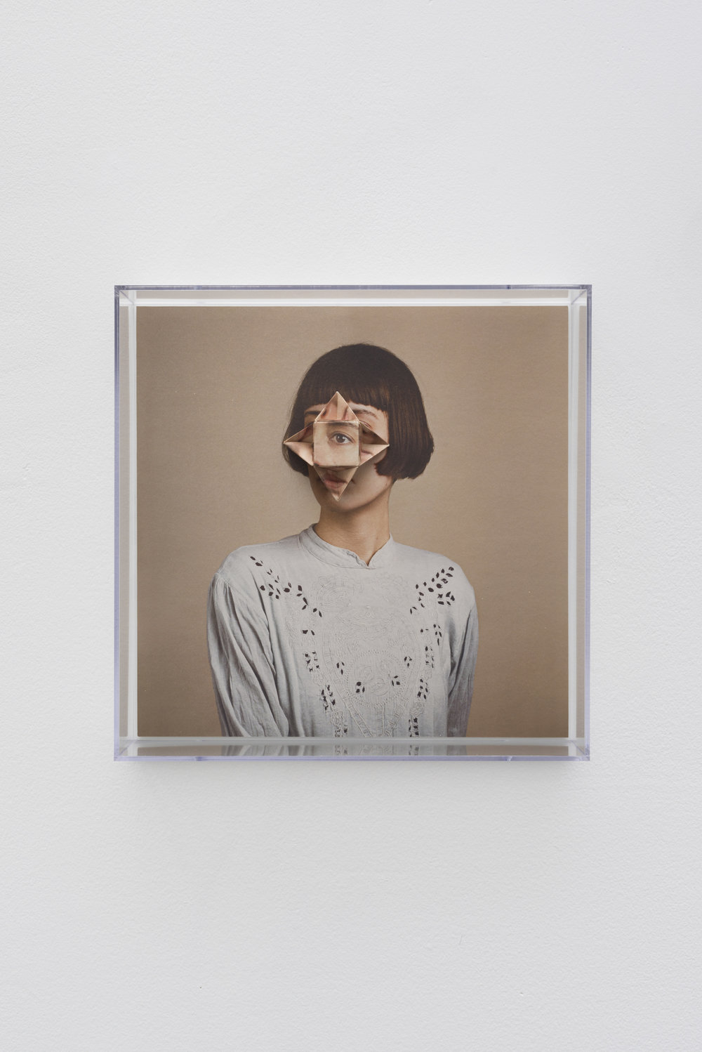 Alma Haser,  Patient No. 34 HD (Jazmine) , 2017  Digital pigment print with folded digital pigment print sculpture, plexiglass box, 30 x 30 x 10 cm (approx. 12 x 12 x 4 in), edition of 5   Inquire