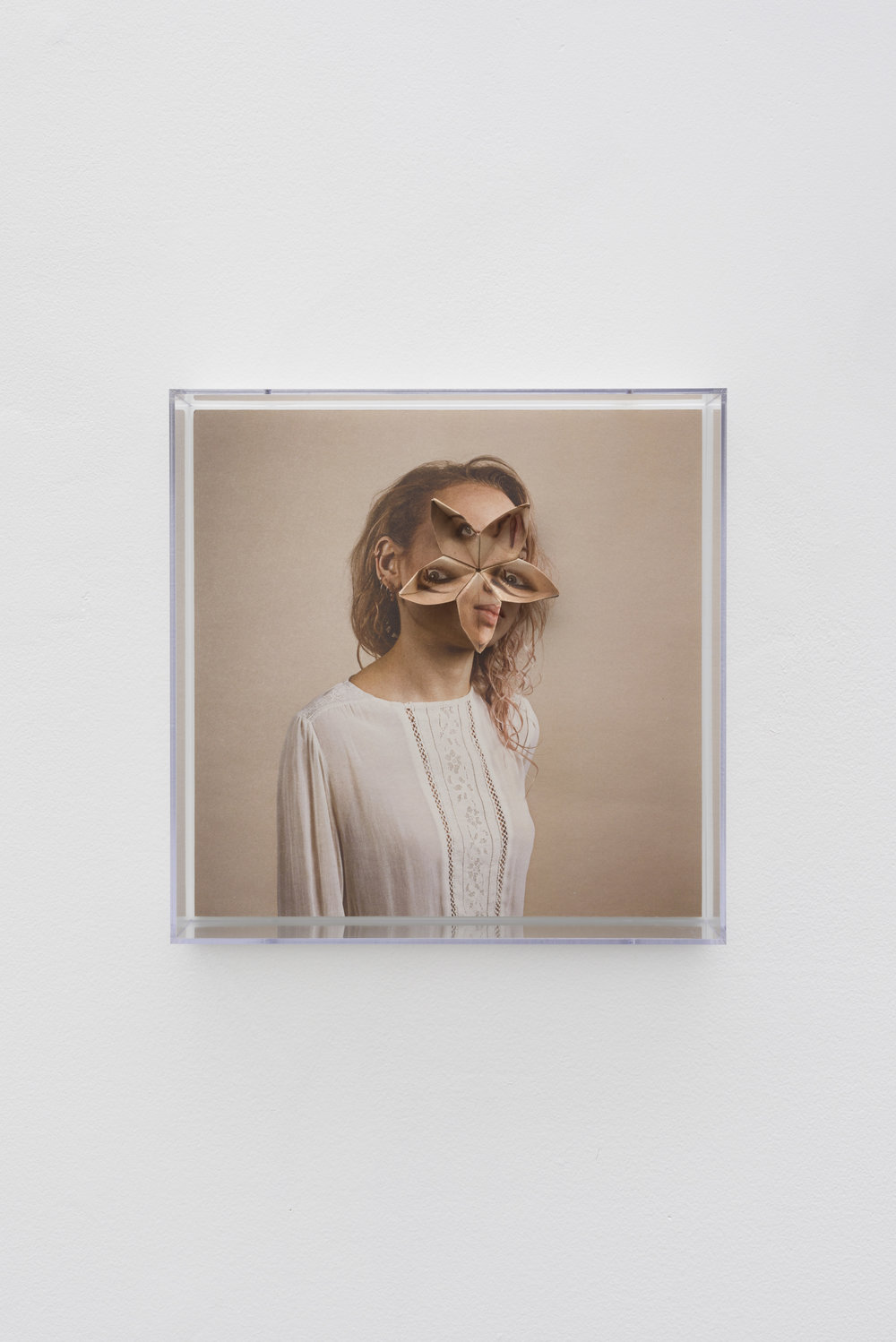 Alma Haser,  Patient No. 40 HD (Hannah) , 2017  Digital pigment print with folded digital pigment print sculpture, plexiglass box, 30 x 30 x 10 cm (approx. 12 x 12 x 4 in), edition of 5   Inquire