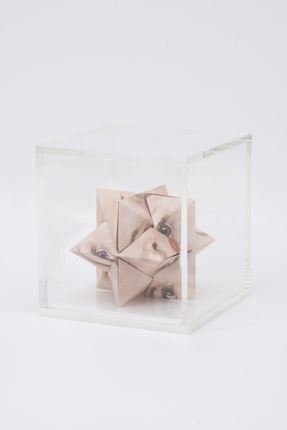 Alma Haser,  Prototype No. 26 (Carla) , 2016  Digital pigment print with folded digital pigment print sculpture, plexiglass box, 12 x 12 x 12 cm (approx. 5 x 5 x 5 in), edition of 5   Inquire