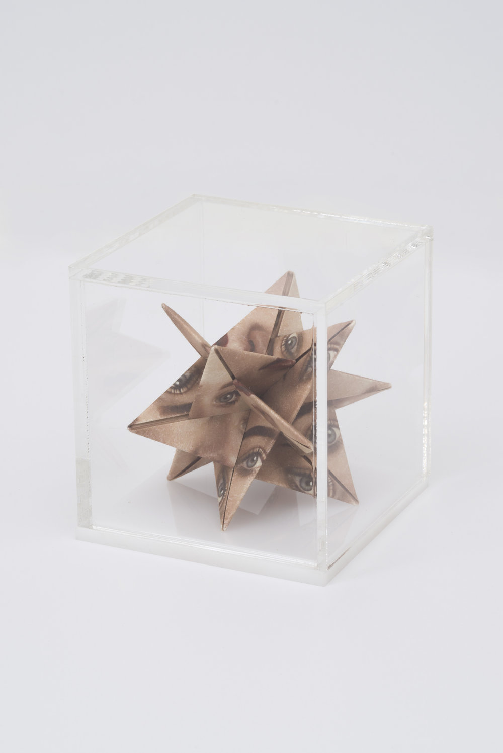 Alma Haser,  Prototype No. 39 (Grace) , 2016  Digital pigment print with folded digital pigment print sculpture, plexiglass box, 12 x 12 x 12 cm (approx. 5 x 5 x 5 in), edition of 5   Inquire