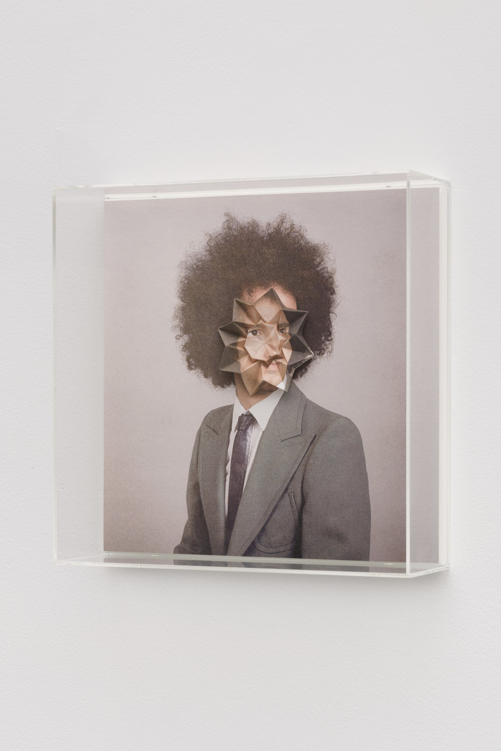 Alma Haser,  Patient No. 24 HD (Sietse) , 2016  Digital pigment print with folded digital pigment print sculpture, plexiglass box, 30 x 30 x 10 cm (approx. 12 x 12 x 4 in), edition of 5   Inquire