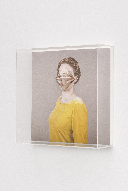 Alma Haser,  Patient No. 33 HD (Ingrid) , 2016  Digital pigment print with folded digital pigment print sculpture, plexiglass box, 30 x 30 x 10 cm (approx. 12 x 12 x 4 in), edition of 5   Inquire