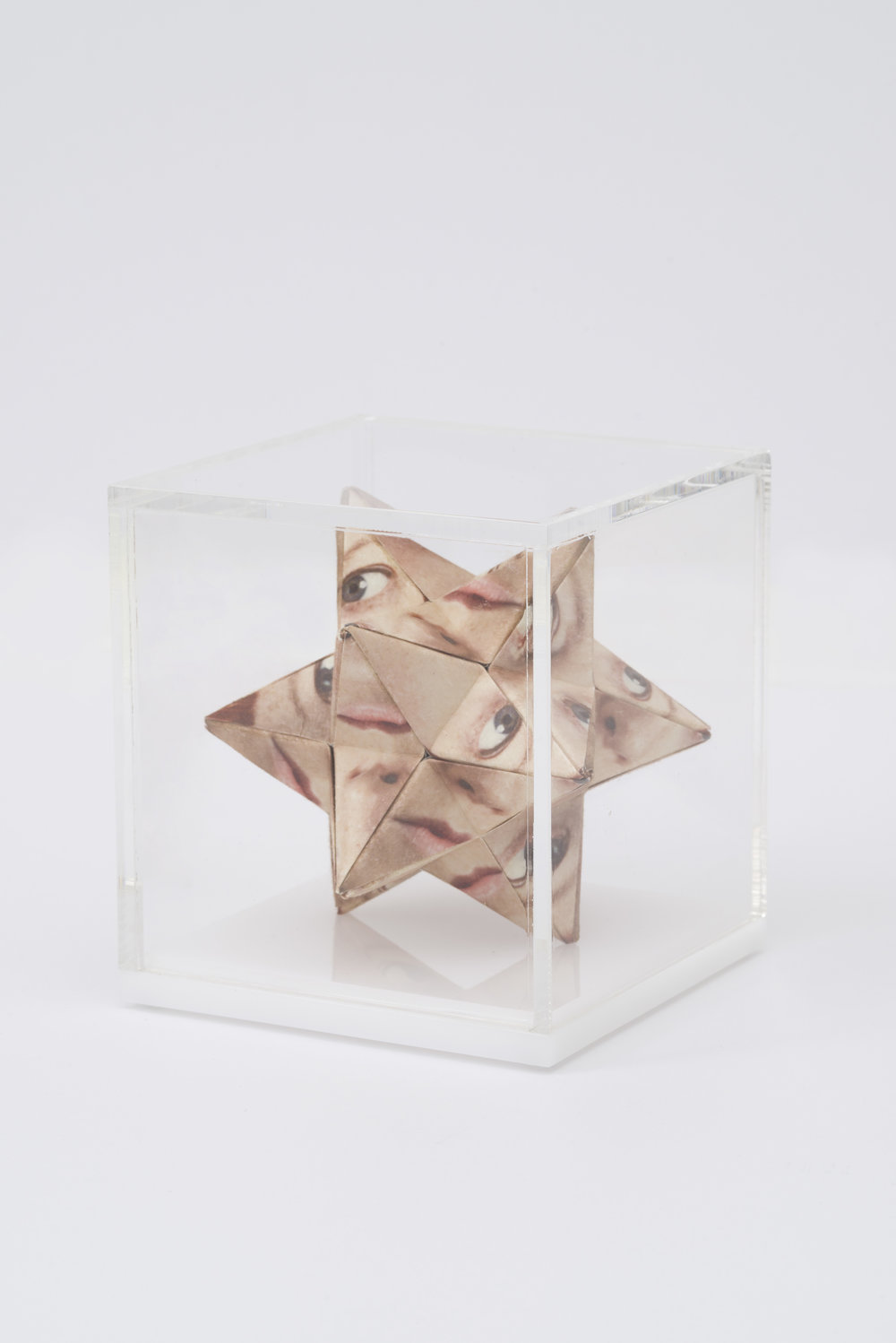 Alma Haser,  Prototype No. 36 (Zoniel) , 2016  Digital pigment print with folded digital pigment print sculpture, plexiglass box, 12 x 12 x 12 cm (approx. 5 x 5 x 5 in), edition of 5   Inquire