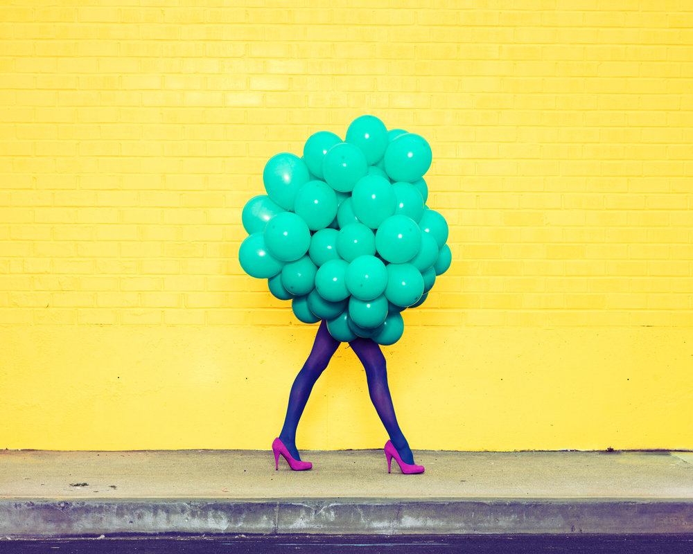 Ramona Rosales,  Je Ne Suis Pas Seul Sans Toi (Green Balloons) , 2013  Digital pigment print, 30 x 40 in, edition of 5; 20 x 24 in, edition of 5; 8 x 10 in, edition of 250   Inquire