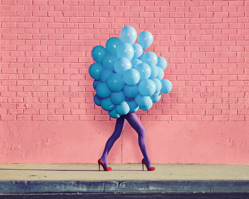 Ramona Rosales,  Je Ne Suis Pas Seul Sans Toi (Blue Balloons) , 2013  Digital pigment print, 30 x 40 in, edition of 5; 20 x 24 in, edition of 5; 8 x 10 in, edition of 250   Inquire