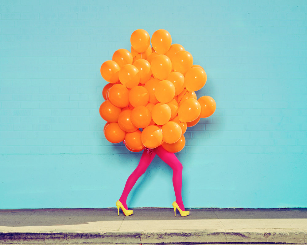 Ramona Rosales,  Je Ne Suis Pas Seul Sans Toi (Orange Balloons) , 2013  Digital pigment print, 30 x 40 in, edition of 5; 20 x 24 in, edition of 5; 8 x 10 in, edition of 250   Inquire