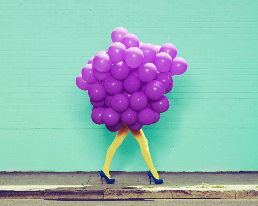 Ramona Rosales,  Je Ne Suis Pas Seul Sans Toi (Purple Balloons) , 2013  Digital pigment print, 30 x 40 in, edition of 5; 20 x 24 in, edition of 5; 8 x 10 in, edition of 250   Inquire