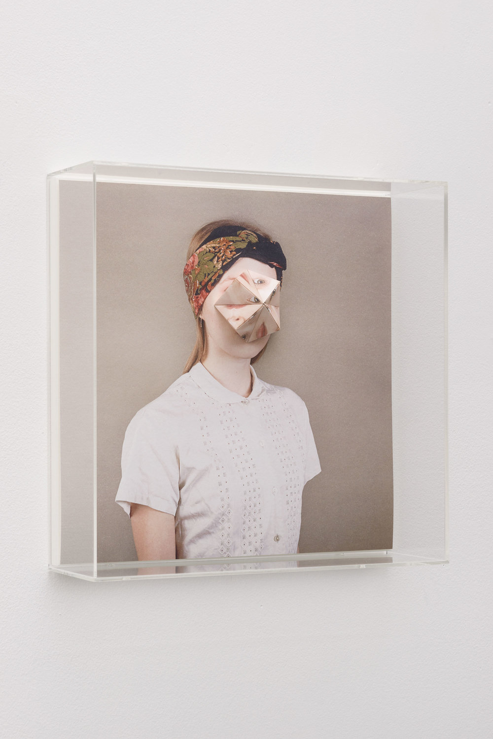 Alma Haser,  Patient No. 20 HD (Emily) , 2016  Digital pigment print with folded digital pigment print sculpture, plexiglass box, 30 x 30 x 10 cm (approx. 12 x 12 x 4 in), edition of 5   Inquire