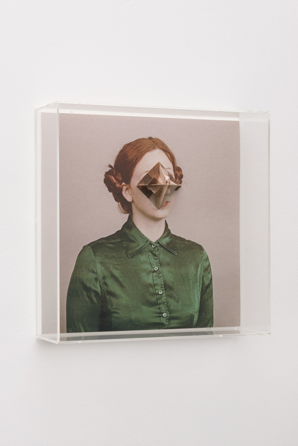 Alma Haser,  Patient No. 16 HD (Isley) , 2016  Digital pigment print with folded digital pigment print sculpture, plexiglass box, 30 x 30 x 10 cm (approx. 12 x 12 x 4 in), edition of 5   Inquire