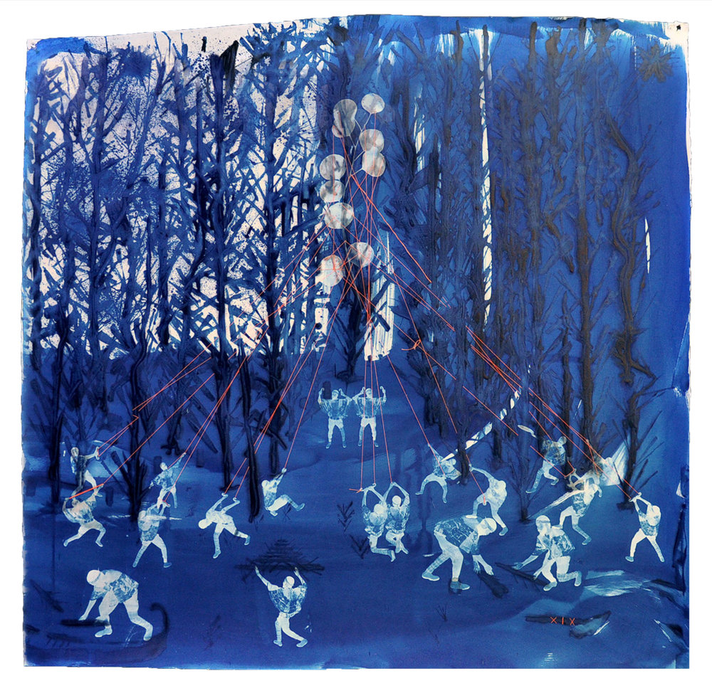 Ivan Forde,  Morning Raid , 2017  Cyanotype on paper, thread, 41 x 41 in, unique   Inquire