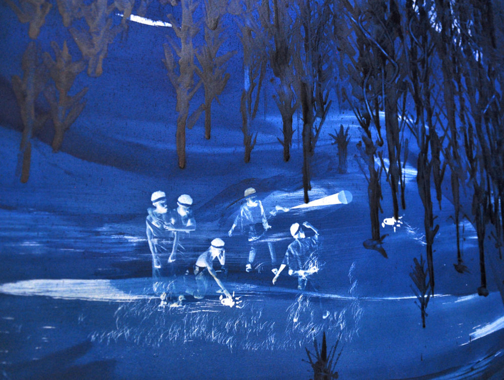 Ivan Forde,  Remember Our Arrival (detail) , 2017  Cyanotype on paper, 42 x 61 in, unique   Inquire