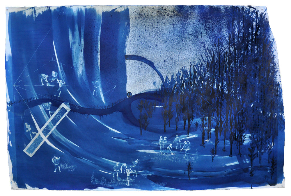 Ivan Forde,  Remember Our Arrival , 2017  Cyanotype on paper, 42 x 61 in, unique   Inquire