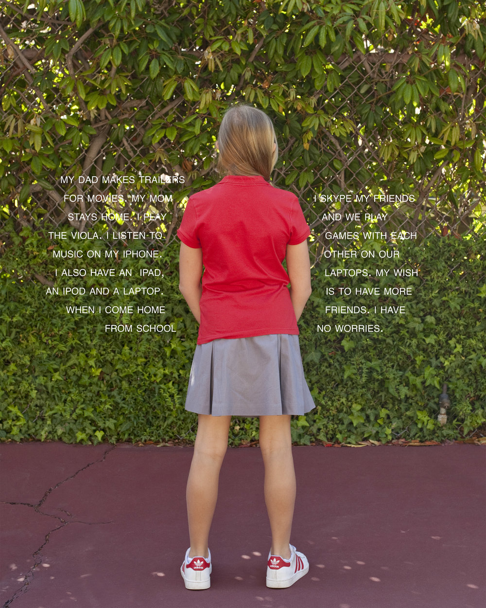 Judy Gelles,  Fourth Grade Project: No Worries (California private school) , 2008-2018  Digital pigment print, sizes variable   Inquire