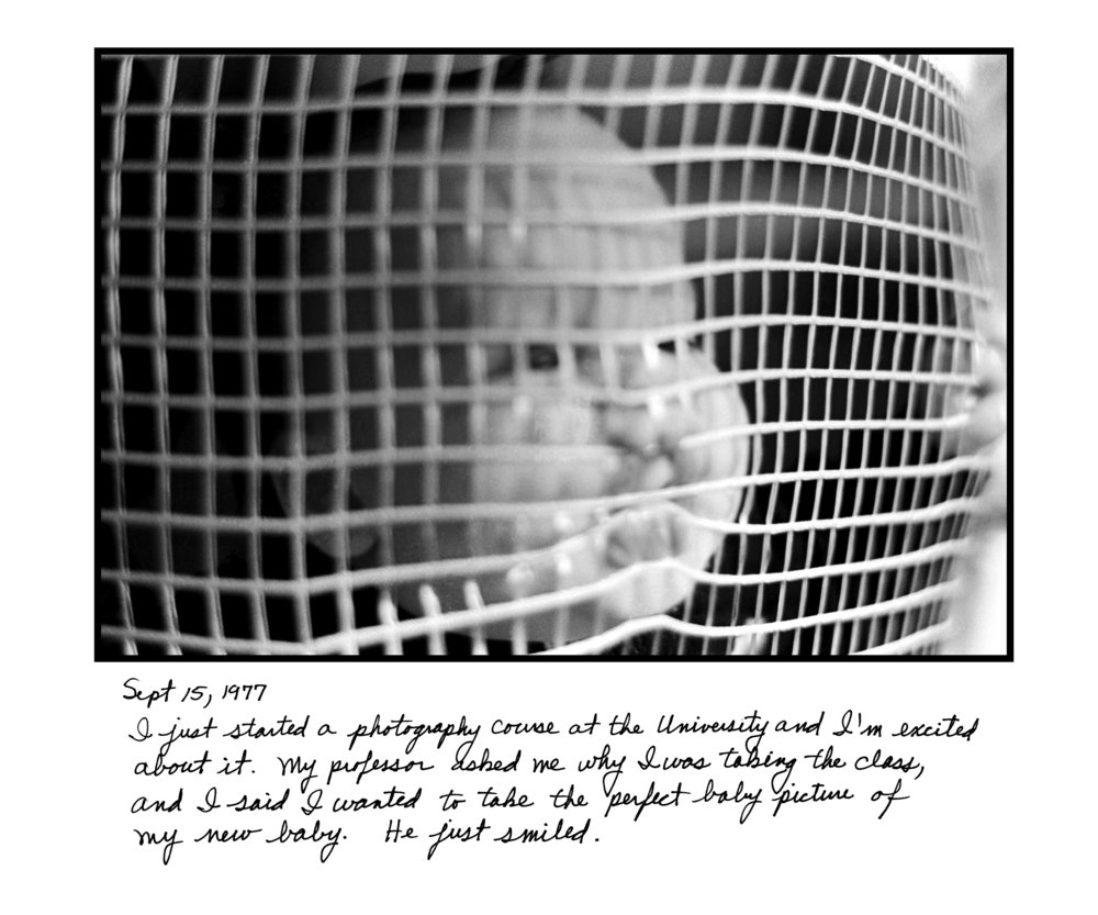 Judy Gelles,  Playpen , 1977  Silver gelatin print with handwritten notes (original); digital pigment print, 20 x 24 in, edition of 5   Inquire